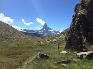 Sport climbing at Fluealp ( Matterhorn in the back ground)
