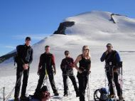 Team photo after a successful summit of the Breithorn